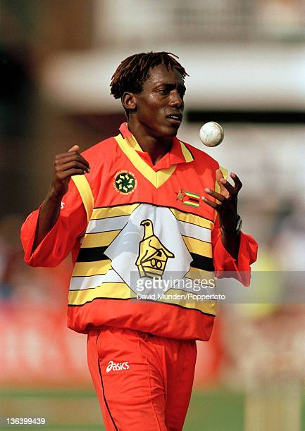 Henry Olonga bowling for Zimbabwe during their World Cup match against India at Grace Road in Leicester, 19th May 1999. Zimbabwe won by 3 runs.