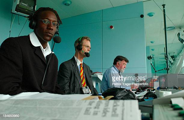 Henry Olonga, Christopher Martin-Jenkins and Bill Frindall, England v Zimbabwe, 1st Test, Lord's, May 03.