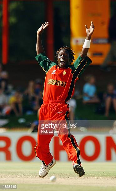Henry Olonga of Zimbabwe appeals during the World Cup Super Six One Day International between Kenya and Zimbabwe held on March 12, 2003 at Goodyear...