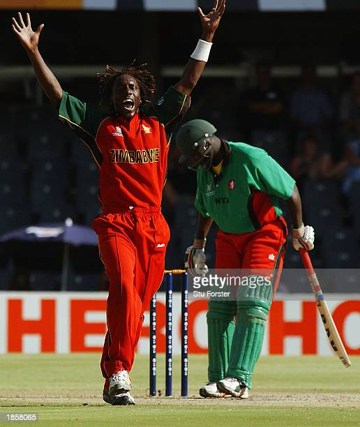 Henry Olonga of Zimbabwe successfully appeals for the wicket of Kennedy Obuya of Kenya during the World Cup Super Six One Day International between...