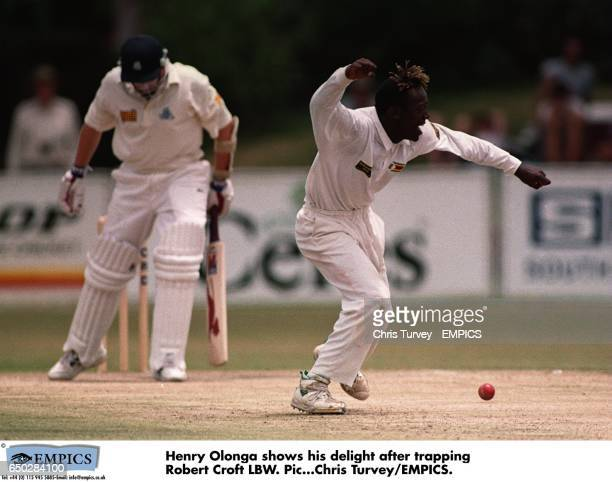 Henry Olonga shows his delight after trapping Robert Croft LBW.