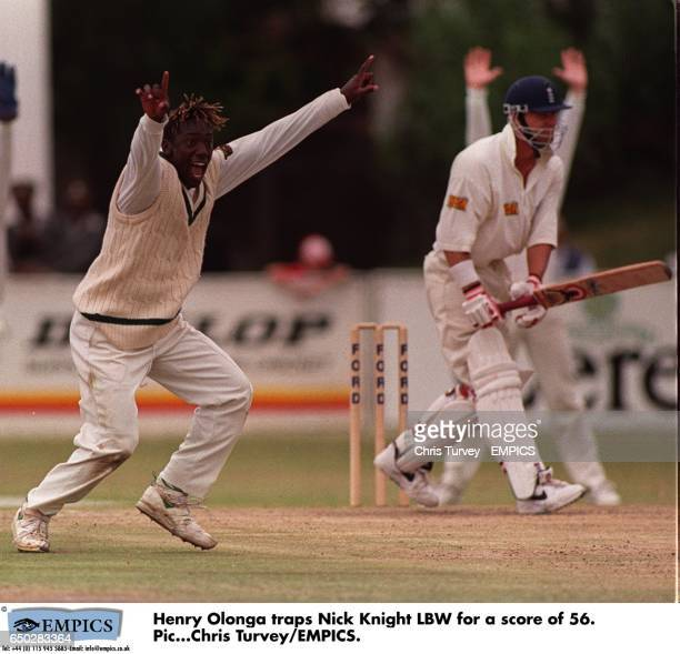 Henry Olonga traps Nick Knight LBW for a score of 56.