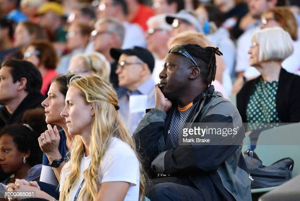 Henry Olonga watching the Danielle Collins of the USA i match against Ash Barty of Australia during day six of the 2020 Adelaide International at...