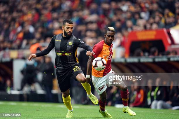 Henry Onyekuru and Issam Chebake fighting about the ball during Galatasaray v Yeni Malatyaspor on April 62019 in Turk Telekom Stadium IstanbulTurkey
