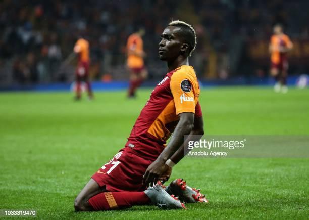Henry Onyekuru celebrates after scoring a goal during Turkish Super Lig soccer match between Galatasaray and Kasimpasa at Turk Telekom Stadium in...