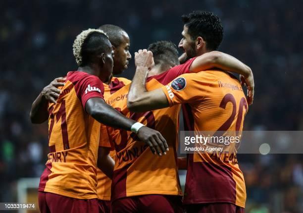 Henry Onyekuru celebrates after scoring a goal with his team mates during Turkish Super Lig soccer match between Galatasaray and Kasimpasa at Turk...