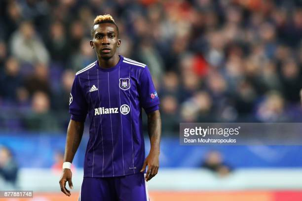 Henry Onyekuru of Anderlecht in action during the UEFA Champions League group B match between RSC Anderlecht and Bayern Muenchen at Constant Vanden...
