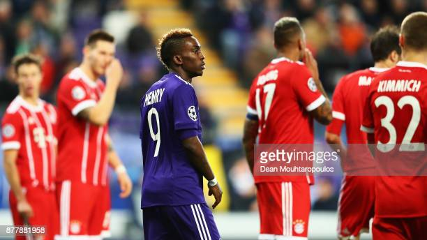 Henry Onyekuru of Anderlecht looks on during the UEFA Champions League group B match between RSC Anderlecht and Bayern Muenchen at Constant Vanden...