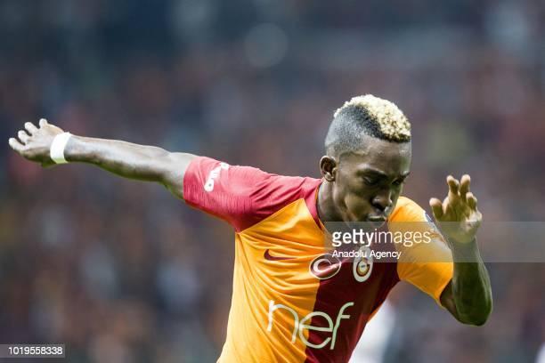 Henry Onyekuru of Galatasaray celebrates after scoring a goal during a Turkish Super Lig soccer match between Galatasaray and Goztepe at Turk Telekom...