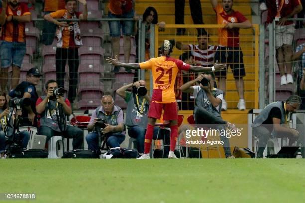 Henry Onyekuru of Galatasaray celebrates after scoring a goal during Turkish Super Lig soccer match between Galatasaray and Aytemiz Alanyaspor at...