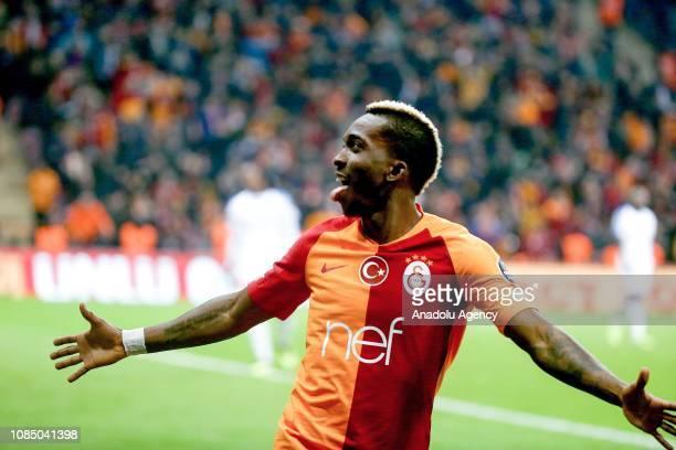 Henry Onyekuru of Galatasaray celebrates after scoring a goal during Turkish Super Lig soccer match between Galatasaray and MKE Ankaragucu at Turk...