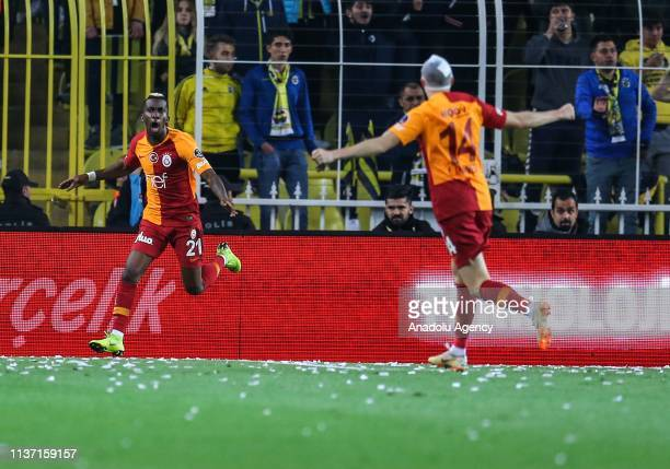 Henry Onyekuru of Galatasaray celebrates after scoring a goal during the Turkish Super Lig derby between Fenerbahce and Galatasaray at Ulker Stadium...
