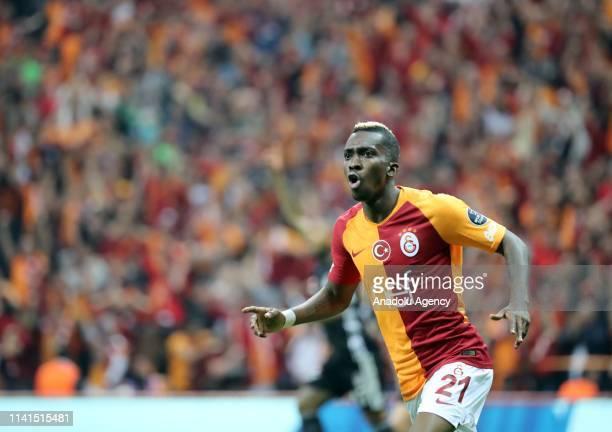Henry Onyekuru of Galatasaray celebrates after scoring a goal during the Turkish Super Lig week 31 football match between Galatasaray and Besiktas at...