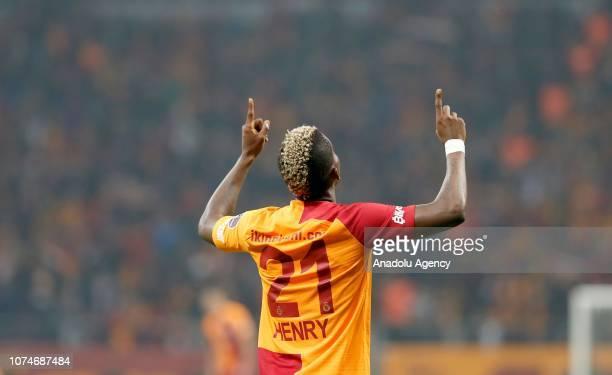 Henry Onyekuru of Galatasaray celebrates his goal during Turkish Super Lig week 17 soccer match between Galatasaray and Demir Grup Sivasspor at Turk...