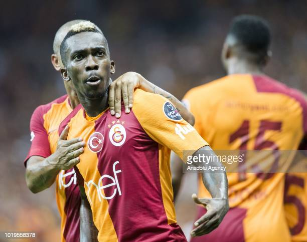 Henry Onyekuru of Galatasaray celebrates with his teammates after scoring a goal during a Turkish Super Lig soccer match between Galatasaray and...