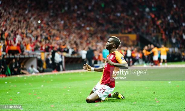 Henry Onyekuru of Galatasaray celebreating the goal to 10 in the 44th minute during the Turkish Super Lig match between Galatasaray SK and Besiktas...
