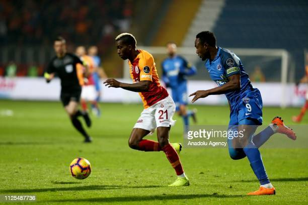 Henry Onyekuru of Galatasaray in action against Bangaly Fode Koita of Kasimpasa during the Turkish Super Lig soccer match between Kasimpasa and...