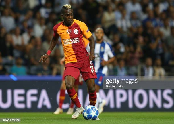 Henry Onyekuru of Galatasaray in action during the UEFA Champions League Group D match between FC Porto and Galatasaray at Estadio do Dragao on...