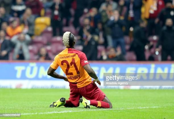 Henry Onyekuru of Galatasaray reacts during Turkish Super Lig soccer match between Galatasaray and MKE Ankaragucu at Turk Telekom Stadium in Istanbul...