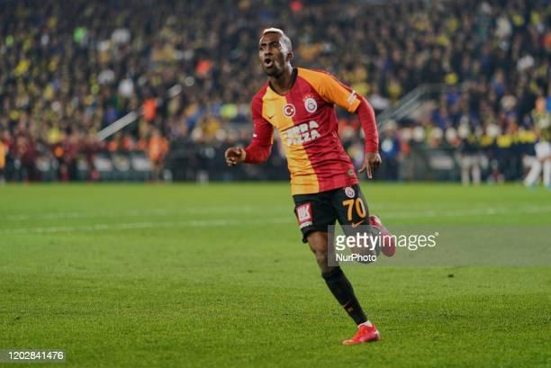 Henry Onyekuru of Galatasaray SK celebrating scoring to 13 during Fenerbahçe against Galatasaray on ükrü Saracolu Stadium Istanbul Turkey on February...