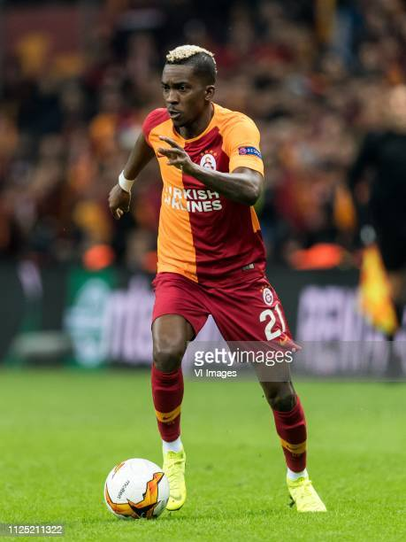 Henry Onyekuru of Galatasaray SK during the UEFA Europa League round of 32 match between Galatasaray SK and SL Benfica at Ali Sami Yen Spor Kompleksi...