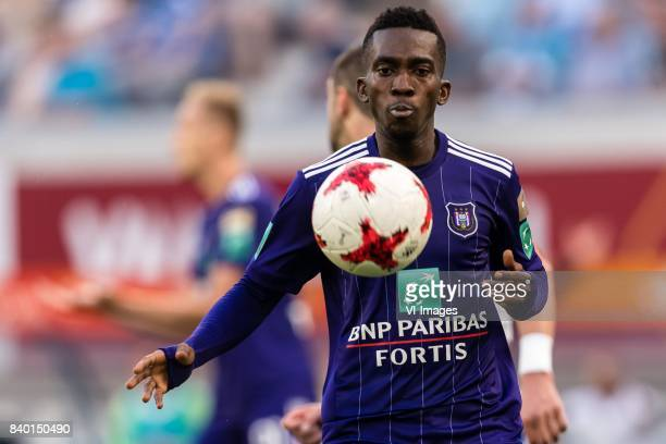 Henry Onyekuru of RSC Anderlecht during the Jupiler Pro League match between KAA Gent and RSC Andelecht at the Ghalemco Arena on August 27 2017 in...