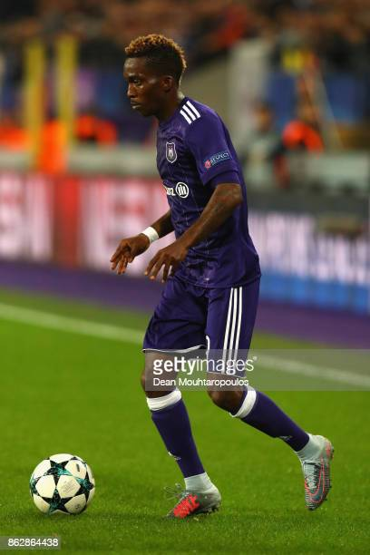 Henry Onyekuru of RSC Anderlecht in action during the UEFA Champions League group B match between RSC Anderlecht and Paris SaintGermain at Constant...