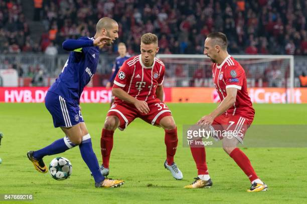 Henry Onyekuru of RSC Anderlecht Joshua Kimmich of Bayern Muenchen and Franck Ribery of Bayern Muenchen battle for the ball during the UEFA Champions...