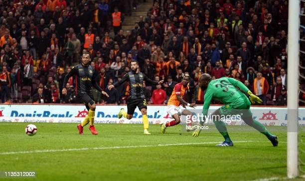 Henry Onyekuru passing the ball in front of Issam Chebake during Galatasaray v Yeni Malatyaspor on April 62019 in Turk Telekom Stadium IstanbulTurkey