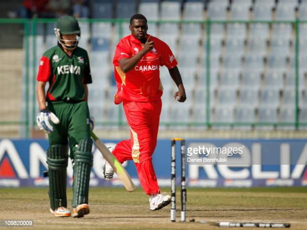 Henry Osinde of Canada celebrates after bowling Seren Waters of Kenya during the ICC Cricket World Cup group A match between Canada and Kenya at...