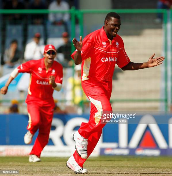 Henry Osinde of Canada celebrates after taking the wicket of Morris Ouma of Kenya during the ICC Cricket World Cup group A match between Canada and...