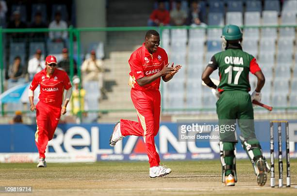 Henry Osinde of Canada celebrates the wicket of Morris Ouma of Kenya during the ICC Cricket World Cup group A match between Canada and Kenya at Feroz...