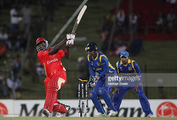 Henry Osinde of Canada is bowled during the Sri Lanka v Canada 2011 ICC World Cup Group A match at the Mahinda Rajapaksa International Cricket...