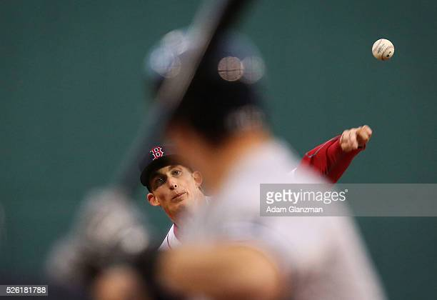 Henry Owens of the Boston Red Sox delivers in the first inning during the game against the New York Yankees at Fenway Park on April 29 2016 in Boston...
