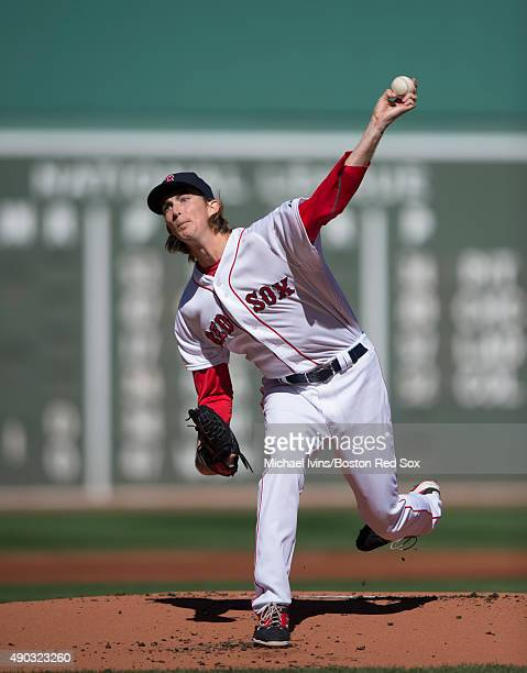 Henry Owens of the Boston Red Sox pitches during the first inning against the Baltimore Orioles at Fenway Park on September 27 2015 in Boston...