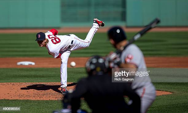 Henry Owens of the Boston Red Sox pitches during the second inning against the Baltimore Orioles at Fenway Park on September 27 2015 in Boston...