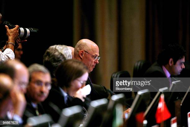 Henry Paulson, U.S. Treasury secretary, attends the G20 Finance Ministers and Central Banking Governors meeting in Kleinmond, South Africa, on...