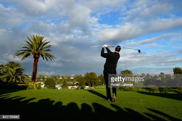 J Henry plays his shot from the first tee during the third round at the Genesis Open at Riviera Country Club on February 18 2017 in Pacific Palisades...