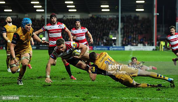 Henry Purdy of Gloucester Rugby goes over for his sides fourth try during the Aviva Premiership match between Gloucester Rugby and Bristol Rugby at...