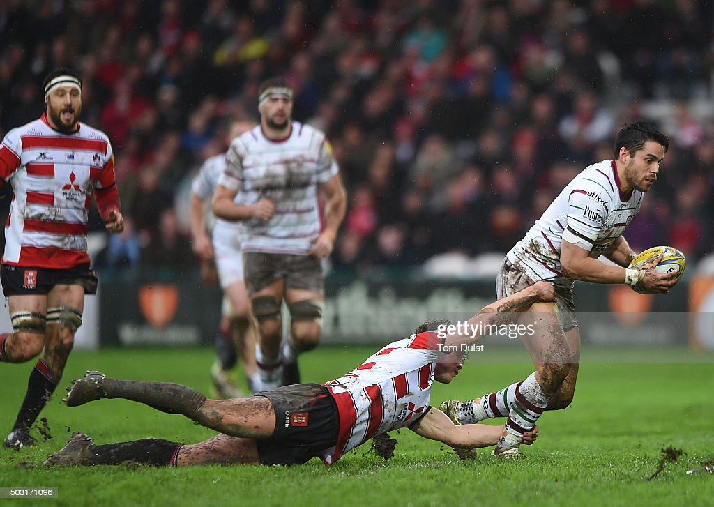Henry Purdy of Gloucester Rugby tackles Sean Maitland of London Irish during the Aviva Premiership match between Gloucester Rugby and London Irish at Kingsholm Stadium on January 2, 2016 in Gloucester, England. (Photo by Tom Dulat/Getty Images).
