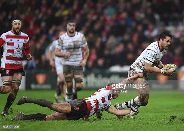 Henry Purdy of Gloucester Rugby tackles Sean Maitland of London Irish during the Aviva Premiership match between Gloucester Rugby and London Irish at...