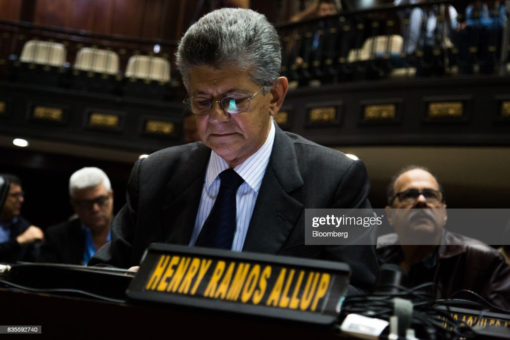 Henry Ramos Allup, former president of the National Assembly, attends a special session of the National Assembly of Caracas, Venezuela, on Saturday, Aug. 19, 2017. Venezuela's new legislative super body took over the functions of the country's only remaining opposition-run institution -- the National Assembly -- by approving a decree that empowers it to pass laws on a range of issues. Photographer: Wil Riera/Bloomberg via Getty Images