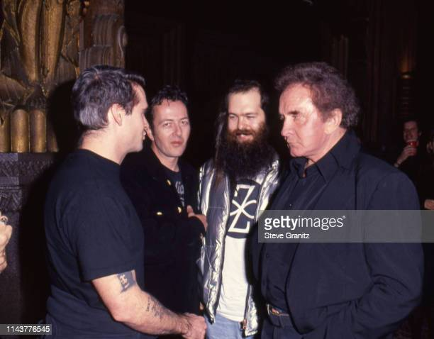 Henry Rollins Joe Strummer Rick Rubin and Johnny Cash during Johnny Cash Concert Arrivals at The Pantages Theatre in Los Angeles California United...