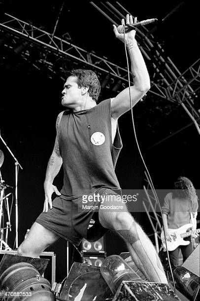 Henry Rollins performs on stage at Finsbury Park, London , United Kingdom, 1991.