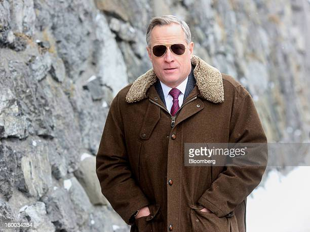 Henry Ross Perot Jr chairman of Hillwood Development Corp walks to the Congress Center on day three of the World Economic Forum in Davos Switzerland...