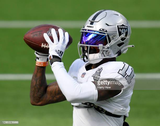 Henry Ruggs III of the Las Vegas Raiders catches during warm up before the game against the Los Angeles Chargers at SoFi Stadium on November 08, 2020...