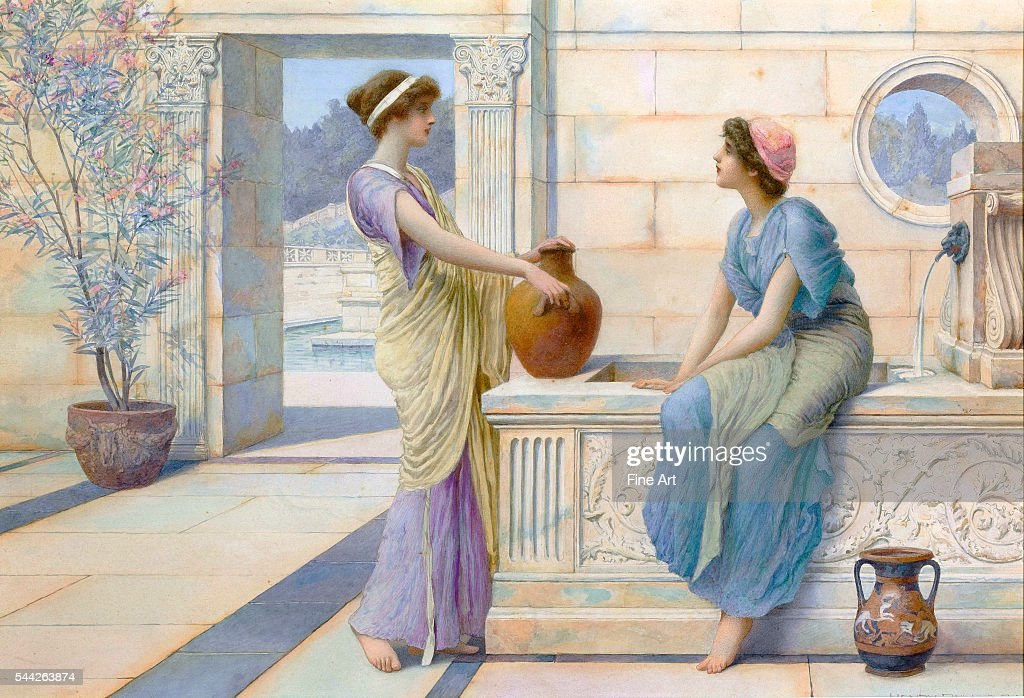 Two Women of Ancient Greece Filling their Water Jugs at a Fountain (Women of Corinth) by Henry Ryland : News Photo