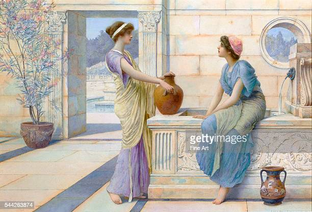 Henry Ryland Two Women of Ancient Greece Filling their Water Jugs at a Fountain watercolor and pencil on paper c 1898 private collection