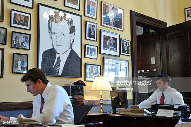 "Henry Sanford, left, and Royal Karstens, staffers for former Senator Edward M. ""Ted"" Kennedy, work in his office in the Russell Senate office..."