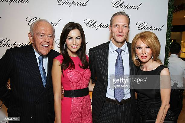 Henry Segerstrom actress Camilla Belle Marc Hruschka President and CEO of Chopard and Elizabeth Segerstrom pose during the Chopard reopening...